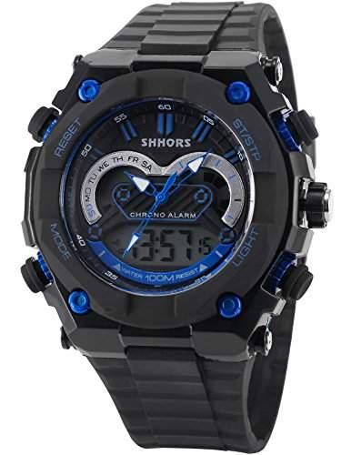 AMPM24 Herren Armbanduhr Quarzwerk Analog Digital Silikon Armband Datumanzeige LED178
