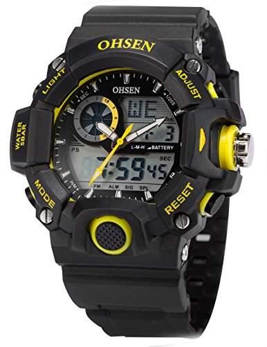 AMPM24 Dual LCD Anzeige Herren Armbanduhr Quarzuhr mit Armband aus Silikon Sport Uhr OHS217