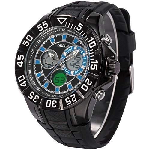 AMPM24 OHSEN Herren Armbanduhr Quarzuhr Analog Digital Schwarze Armband aus Silikon Datumanzeige OHS228