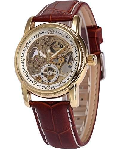 AMPM24 Herren Armbanduhr Automatik Mechanik Uhr mit Braun Armband aus Leder ORK201