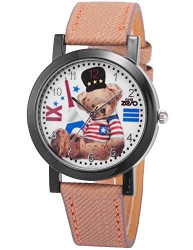 AMPM24 Unisex Quarzuhr Analog Junge Kinder Leder Armbanduhr PHN010
