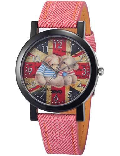 AMPM24 Unisex Quarzuhr Analog Junge Kinder Leder Armbanduhr PHN011