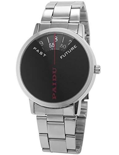 AMPM24 Herren Uhr Analog Schwarz Zifferblatt Silber Edelstahl Armband Quarzuhr PHN019