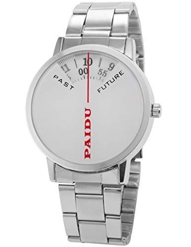 AMPM24 Herren Uhr Analog Weiß Zifferblatt Silber Edelstahl Armband Quarzuhr PHN020