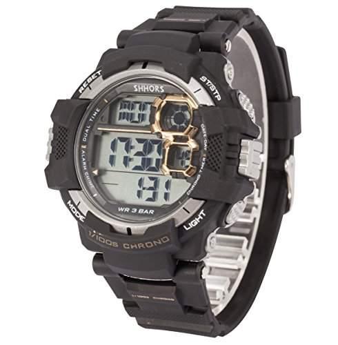 AMPM24 Herren Quarzuhr Sport Digital Countdown Silikon Armband Datumanzeige PHN027