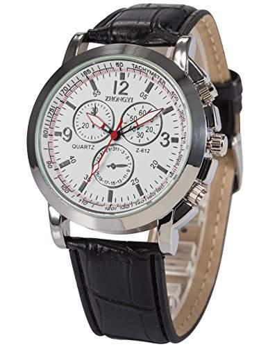 AMPM24 Herren Uhr Quarz Kunstleder Armband Schoene Armbanduhr PHN060