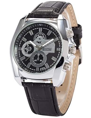 AMPM24 Herren Uhr Quarz Kunstleder Band Analog Anzeige Armbanduhr PHN061