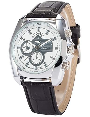 AMPM24 Herren Uhr Quarz Kunstleder Band Analog Anzeige Armbanduhr PHN062