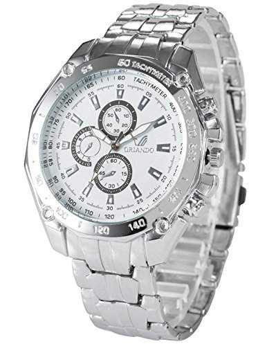 AMPM24 Herren Quarzuhr Analog Anzeige Weiss Zifferblatt Silber Aluminium Armband PHN079