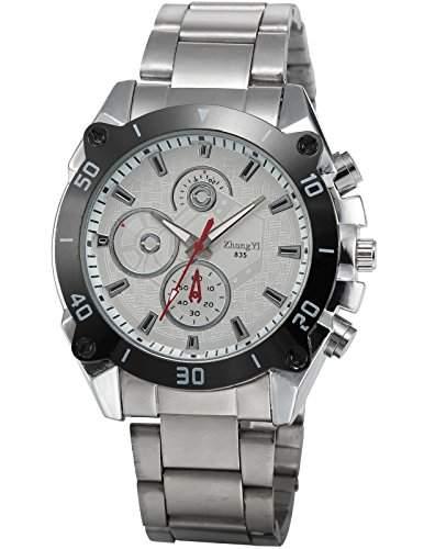 AMPM24 Herren Quarzuhr Analog Anzeige Weiss Zifferblatt Silber Aluminium Armband PHN077