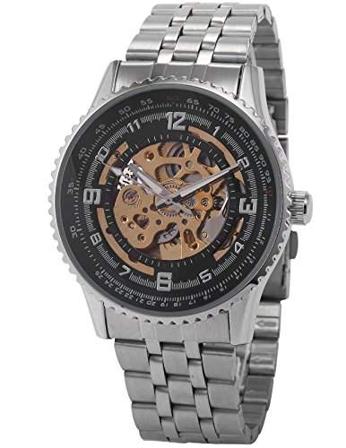 AMPM24 Elegante Klassisch mechanische Handaufzug Herrenuhr Armbanduhr Uhr + AMPM24 Geschenkbox PMW023
