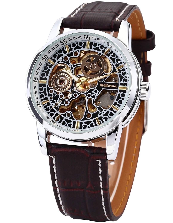 AMPM24 Elegante Klassisch mechanische Automatik Herrenuhr Armbanduhr Uhr + AMPM24 Geschenkbox PMW074