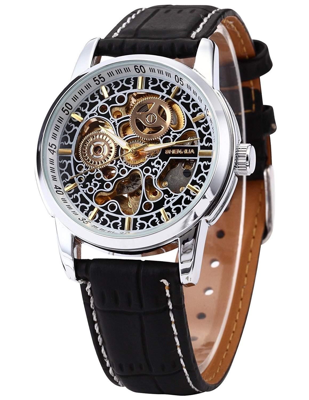 AMPM24 Skelett Elegante Klassisch mechanische Automatik Herrenuhr Armbanduhr Uhr + AMPM24 Geschenkbox PMW075