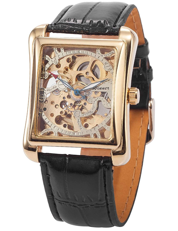 AMPM24 Skelett Elegante Klassisch mechanische Automatik Herrenuhr Armbanduhr Uhr + AMPM24 Geschenkbox PMW079