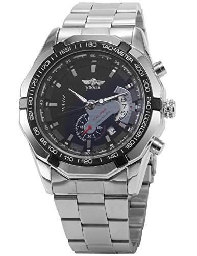 AMPM24 gross Herrenuhr Automatik Mechanische Herren Uhr Edelstahl Armbanduhr + AMPM24 Geschenkbox PMW103