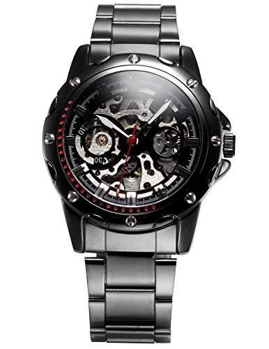 AMPM24 Automatik Uhr Skelettuhr Herren Uhr Schwarz Armbanduhr Edelstahl+ AMPM24 Geschenkbox PMW207