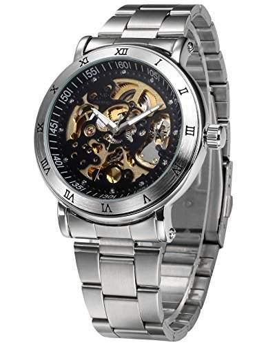 AMPM24 Silber Automatik Uhr Schwarz Skelettuhr Herren Uhr Edelstahl Armbanduhr + AMPM24 Geschenkbox PMW211