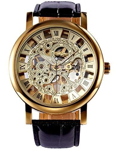 AMPM24 Mechanik Uhr Skelettuhr Analog Herrenuhr Armbanduhr Kunstleder + AMPM24 Geschenkbox PMW217