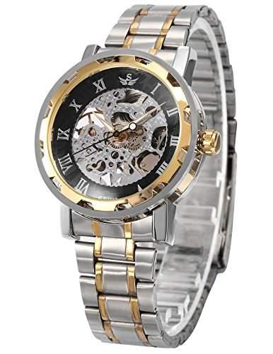 AMPM24 Herren Uhr Mechanische Uhr Skelettuhr Analog Herrenuhr Metall Armbanduhr + AMPM24 Geschenkbox PMW222