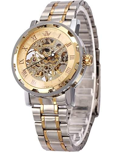 AMPM24 Herren Uhr Mechanische Uhr Skelettuhr Analog Herrenuhr Metall Armbanduhr + AMPM24 Geschenkbox PMW223