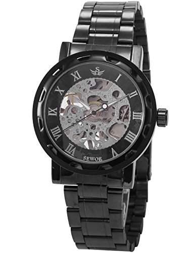AMPM24 Herrenuhr Mechanische Uhr Skelettuhr Herren Uhr Dunkelgrau Armbanduhr Metall + AMPM24 Geschenkbox PMW236