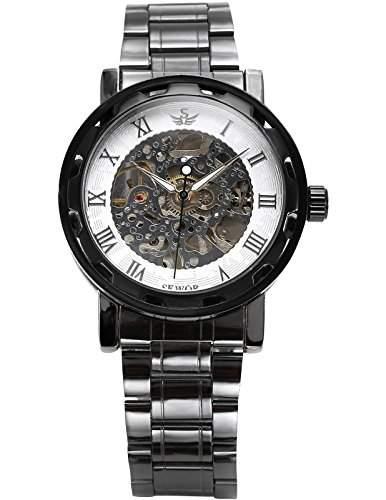 AMPM24 Herren Mechanisch Skelettuhr Metall Armbanduhr Schwarz Weiss mit Weiss Ziffern + AMPM24 Geschenkbox PMW237