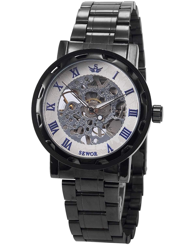 AMPM24 Herren Mechanisch Skelettuhr Metall Armbanduhr Schwarz Weiss mit Blau Ziffern + AMPM24 Geschenkbox PMW238