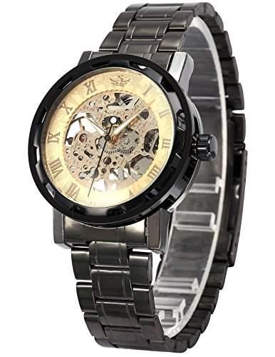 AMPM24 Herrenuhr Mechanische Uhr Skelettuhr Herren Uhr Dunkelgrau Armbanduhr Metall + AMPM24 Geschenkbox PMW239