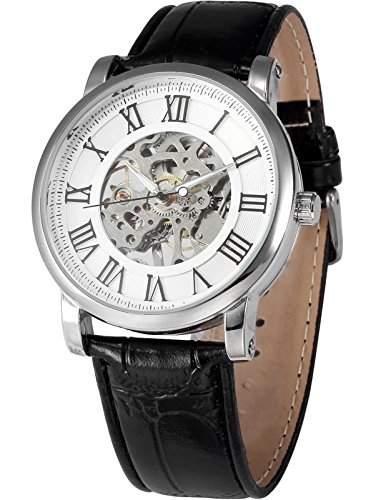 AMPM24 Herren Armbanduhr Handaufzuwerk mit Schwarze Armband aus Kunstleder + AMPM24 Geschenkbox PMW270