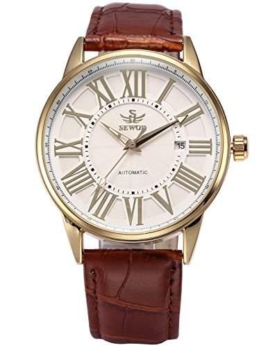 AMPM24 Automatik Mechanik Uhr Datums Kunstleder Herren Uhr Armbanduhr + AMPM24 Geschenkbox PMW285