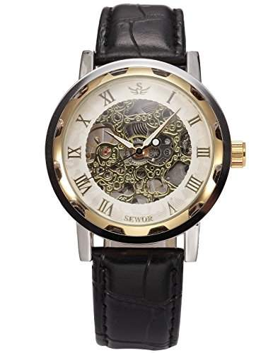 AMPM24 SEWOR Klassische Herren Mechanik Handaufzug Uhr Skelettuhr Kunstleder Armbanduhr + AMPM24 Geschenkbox PMW297