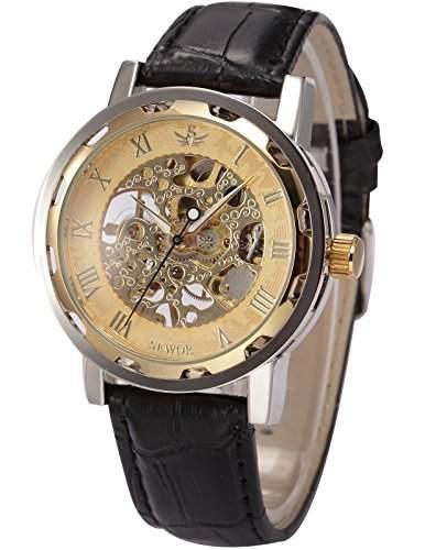 AMPM24 SEWOR goldene Herren Mechanik Handaufzug Uhr Skelettuhr Kunstleder Armbanduhr + AMPM24 Geschenkbox PMW299
