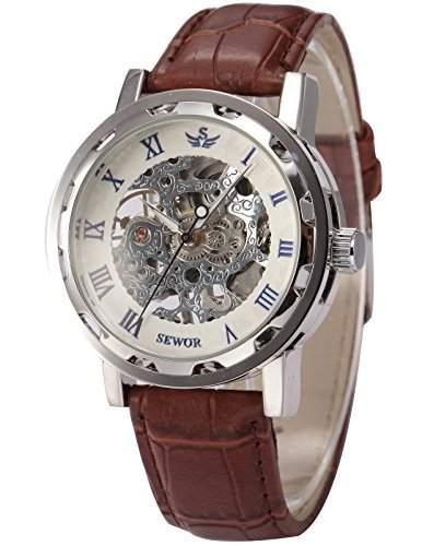 AMPM24 SEWOR blau Herren Mechanik Handaufzug Uhr Skelettuhr Kunstleder Armbanduhr + AMPM24 Geschenkbox PMW301