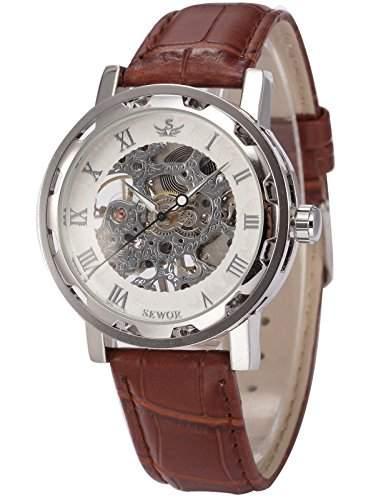 AMPM24 SEWOR schwarz Herren Mechanik Handaufzug Uhr Skelettuhr Kunstleder Armbanduhr + AMPM24 Geschenkbox PMW302