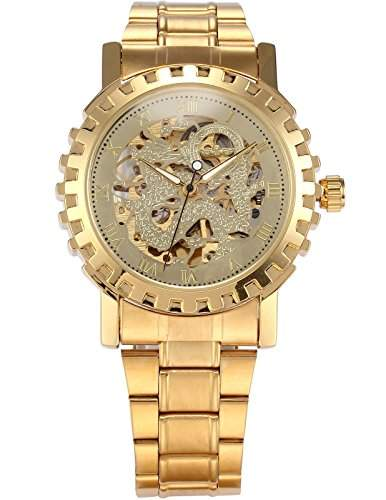 AMPM24 Analog Herren Armbanduhr Automatik Mechanik Uhr mit Gold Armband aus Metall + AMPM24 Geschenkbox PMW304