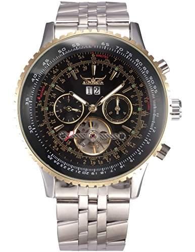 AMPM24 Herren Armbanduhr Automatik Mechanik Uhr mit Silber Armband aus Edelstahl Datumanzeige + AMPM24 Geschenkbox PMW321