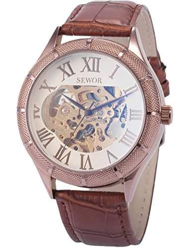 AMPM24 Herren Armbanduhr Automatik Mechanik Uhr Braun Armband aus Kunstleder Weisse Zifferblatt + AMPM24 Geschenkbox PMW330