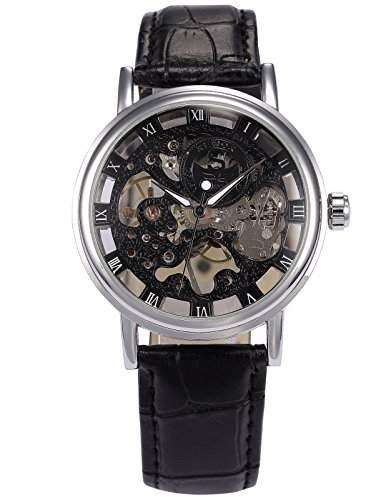 AMPM24 Herren Armbanduhr Handaufzugwerk Schwarze Zifferbaltt Armband aus Kunstleder + AMPM24 Geschenkbox PMW356