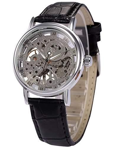 AMPM24 Herren Armbanduhr Automatikuhr Mechanische Armbanduhr Schwarze Armband aus Kunstleder + AMPM24 Geschenkbox PMW357