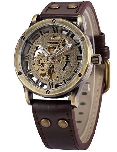 AMPM24 Herren Armbanduhr Automatik Mechanik Uhr Braune Armabnd aus Kunstleder Skelett + AMPM24 Geschenkbox PMW362