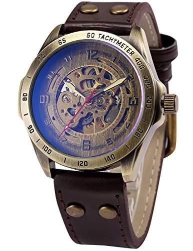 AMPM24 Herren Automatik Mechanik Uhr Armband aus Kunstleder + AMPM24 Geschenkbox PMW368