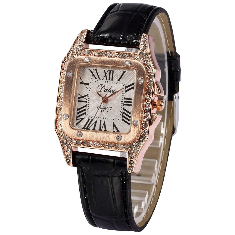 AMPM24 Schwarz Damen Uhr Analog Quarzuhr Leder Armbanduhr