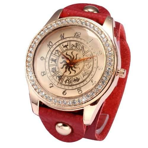 Rose Gold Damen Konstellationen Muster Armreif Quarz Armbanduhr