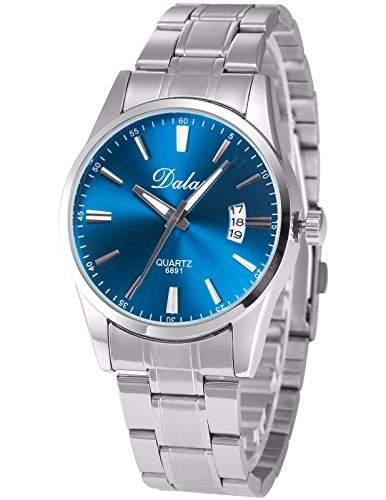 AMPM24 Herren Armbanduhr Analog Datum Anzeige Blau Ziffernblatt Silber Legierung Band Quarzuhr WAA779