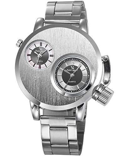AMPM24 Herren Armbanduhr Analog Dual Zeit Zone Anzeige Silber Band Quarzuhr WAA780