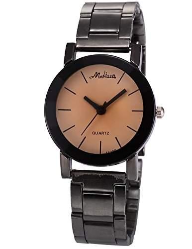 AMPM24 Damen Armbanduhr Analog Braun Ziffernblatt Schwarz Legierung Band Quarzuhr WAA784