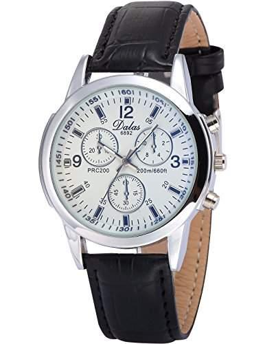 AMPM24 Herren Armbanduhr Analog 3 kleine Ziffernblaetter Schwarz Leder Band Quarzuhr WAA786
