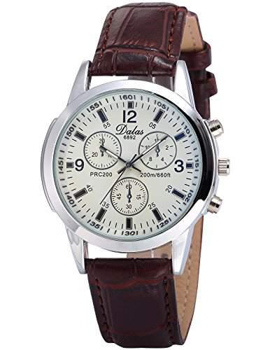 AMPM24 Herren Armbanduhr Analog 3 kleine Ziffernblaetter Braun Leder Band Quarzuhr WAA788