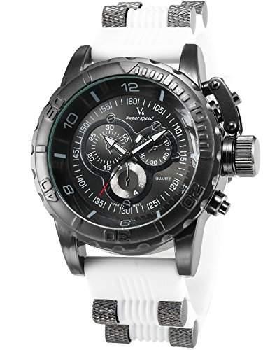 AMPM24 Herren Armbanduhr Analog Schwarz Ziffernblaetter Weiss Kunststoff Band Quarzuhr WAA789