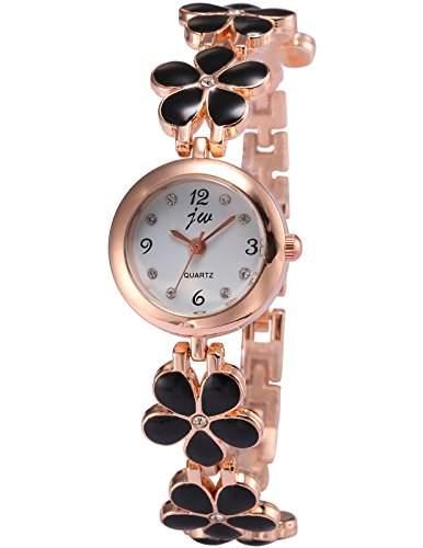 AMPM24 Damen Frauen Analog Quarzuhr Blumen Armreif Design Armbanduhr WAA794